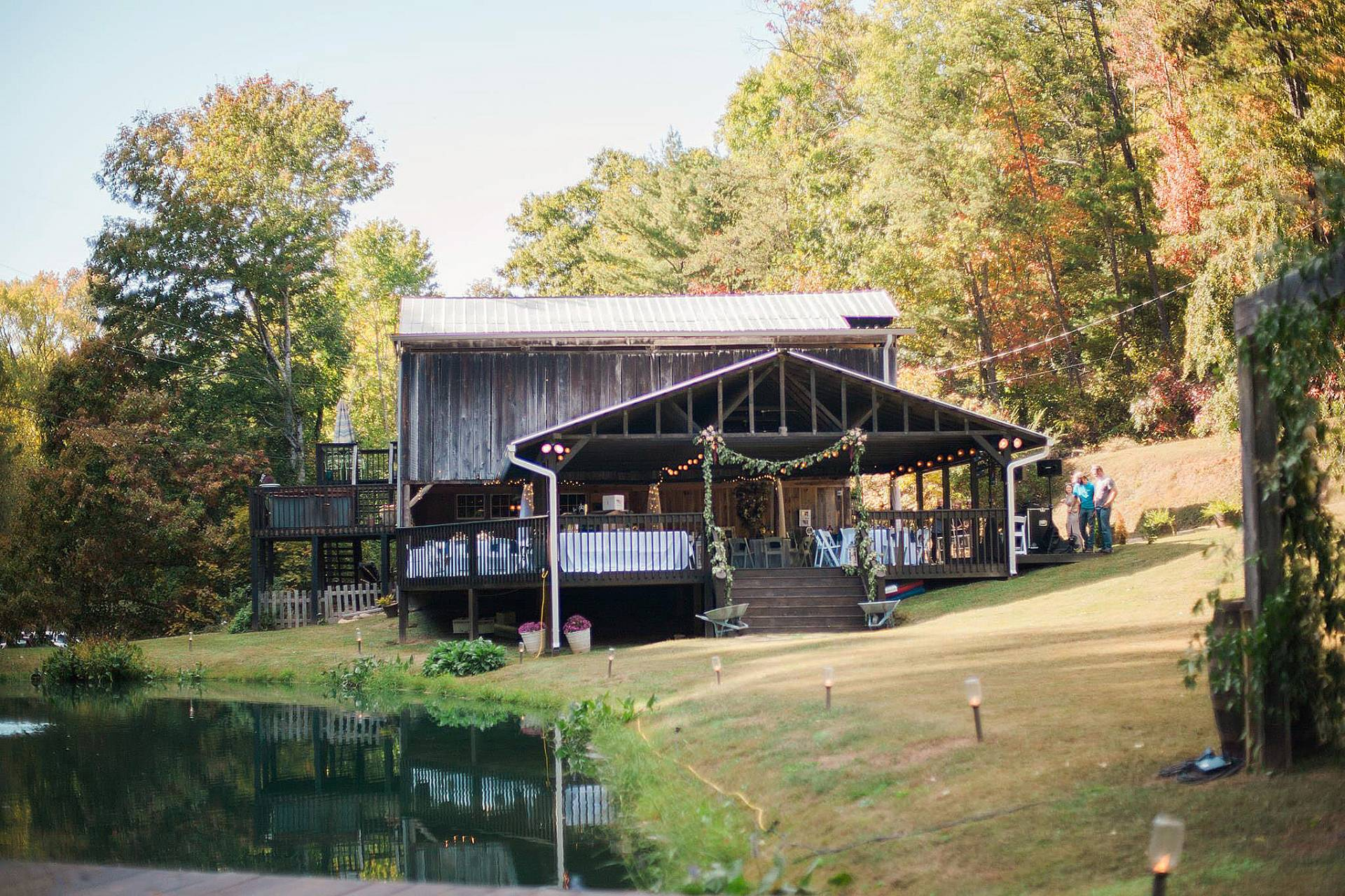 barn weddings, barn wedding ideas, Smoky Mountain barn weddings, wedding guests, outside wedding Smoky Mountains, Smoky Mountain wedding, weddings near Cades Cove, weddings near Smoky Mountains, lakeside wedding, Smoky Mountain lake wedding